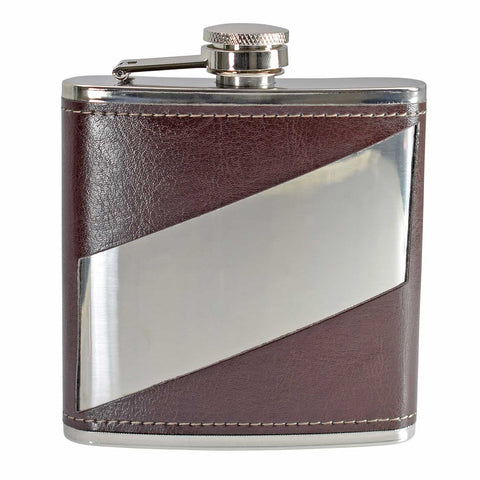 PU Leather 6oz Hip Flask with Metal Stripe Cut Out