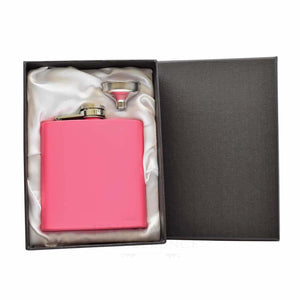 Pink 6oz Hip Flask Silver Gift Box