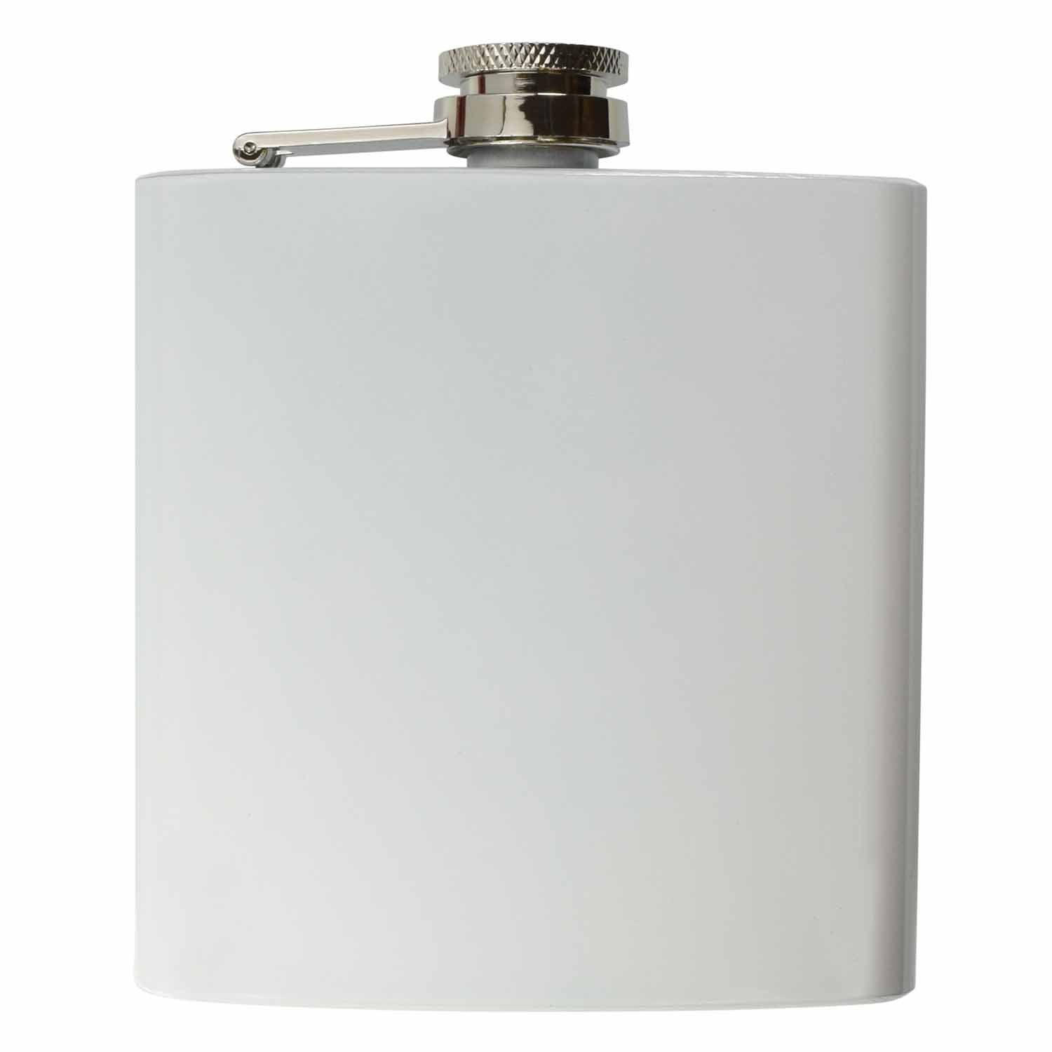 Engraved White 6oz Hip Flask