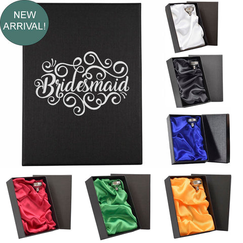 NEW! Wedding hot-foil pressed box-lids with 6oz Hip Flask with Funnel