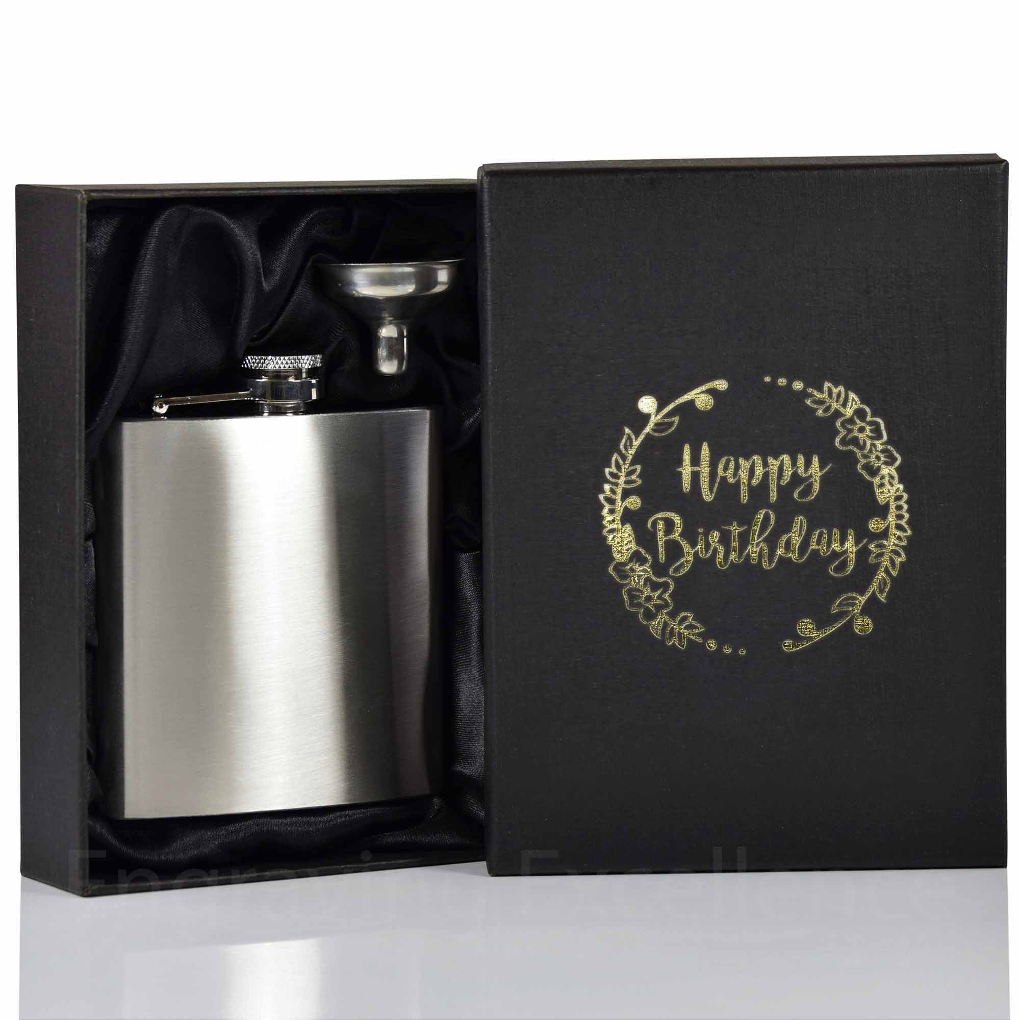 6oz Hip Flask with Funnel and Gift Box - Happy Birthday Printed Lid