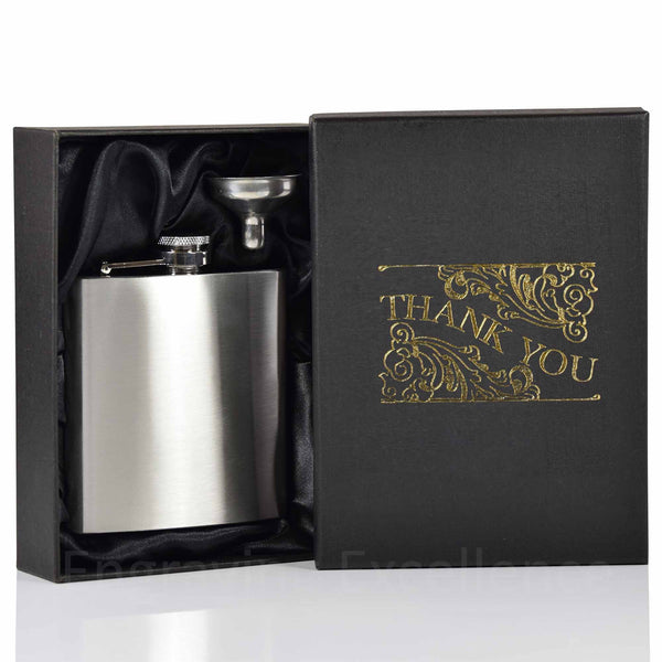 6oz Hip Flask with Funnel and Gift Box - Thank You Printed Lid