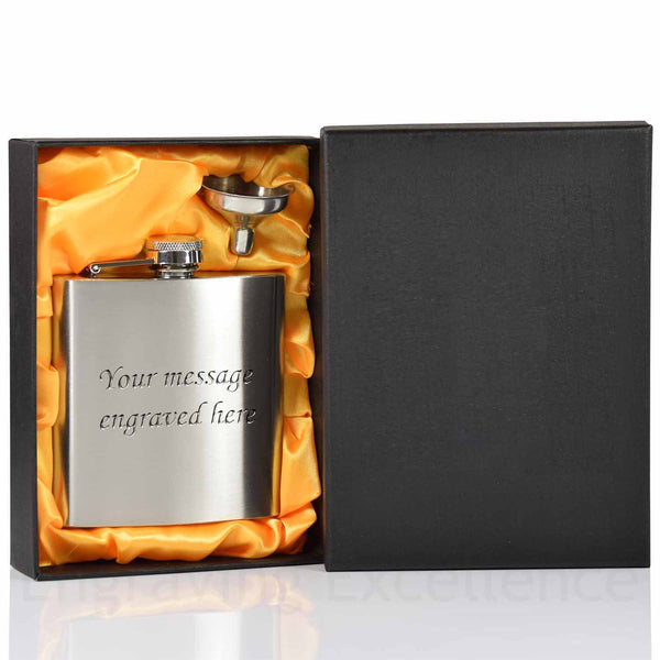 Wedding hot-foil pressed box-lids with 6oz Hip Flask with Funnel