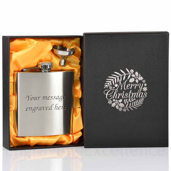 6oz Hip Flask with Funnel and Gift Box - Silver Merry Christmas Printed Lid