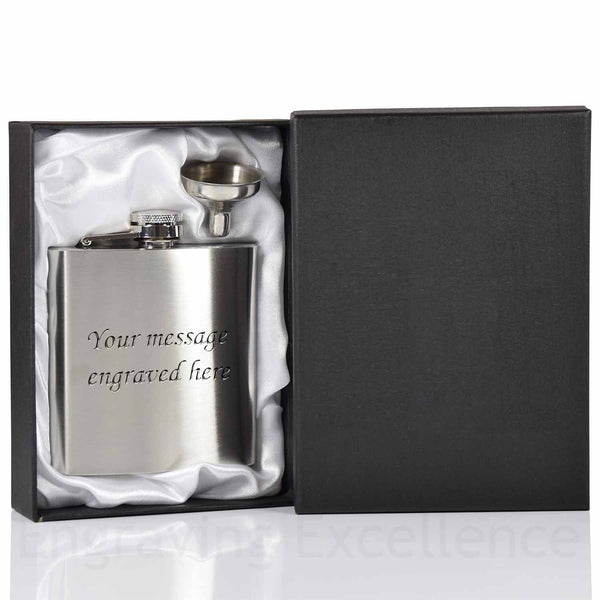 6oz Hip Flask with Funnel and Gift Box - Coloured Lined Boxes