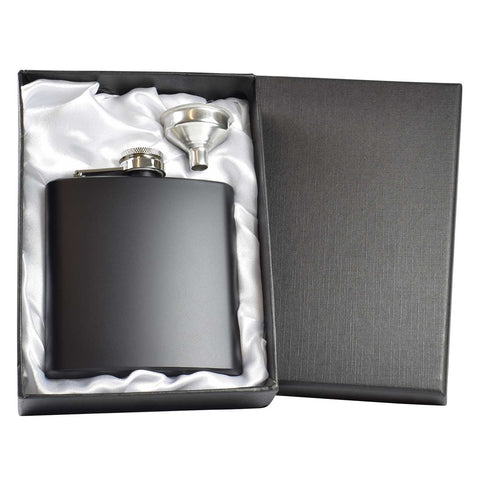 Black 6oz Hip Flask with Funnel and Satin Lined Gift Box