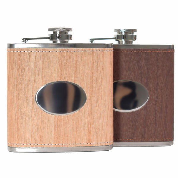 Oval Wood Hip Flasks