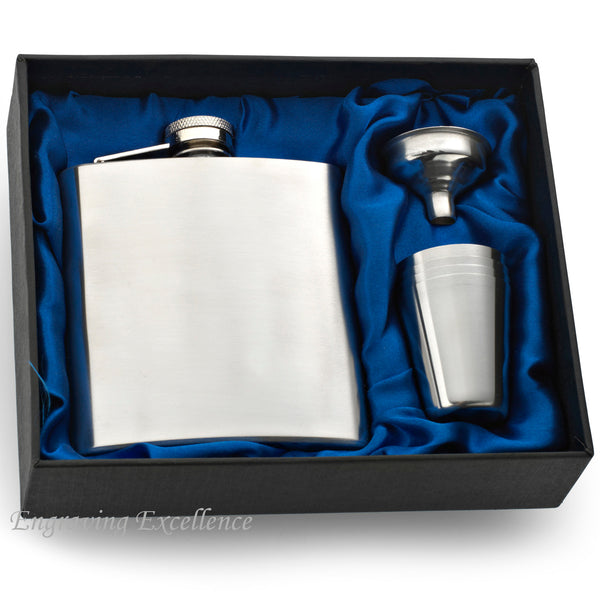 Hip Flask with Funnel and Cups in a Wedding Gift Box