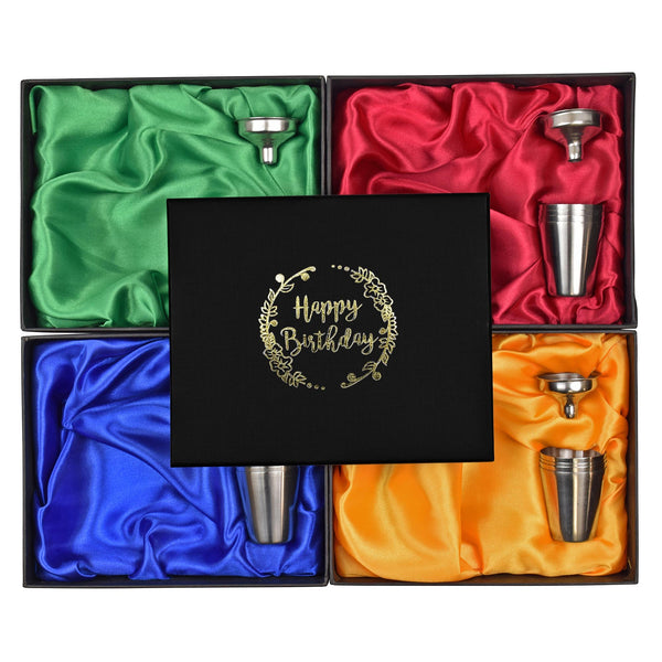 6oz Hip Flask in Gift Box with Funnel and Cups with a printed Happy Birthday lid