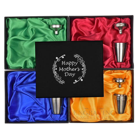 Mother's Day Special 6oz Hip Flask in Gift Box with Funnel and Cups