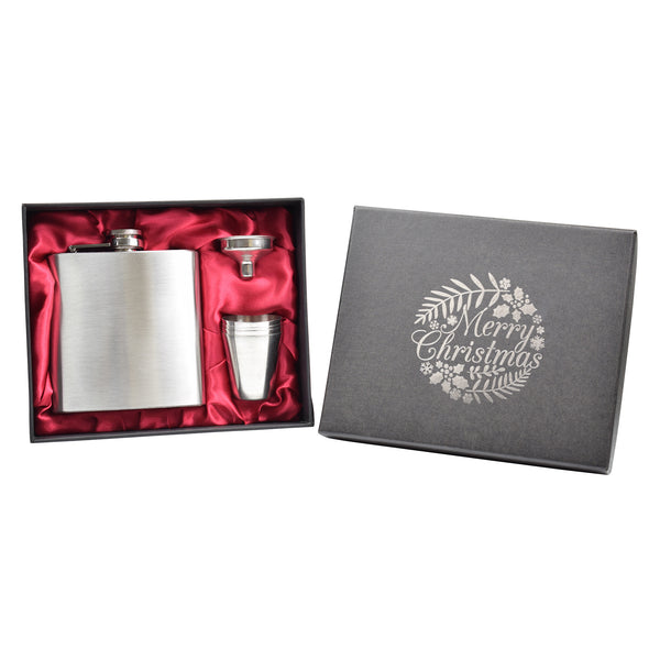 Merry Christmas 6oz Hip Flask in Gift Box with Funnel and Cups
