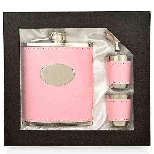 7 oz Pink Hip Flask Gift Set