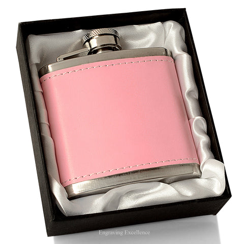 Pink Leatherette Hip Flask, Gift Boxed
