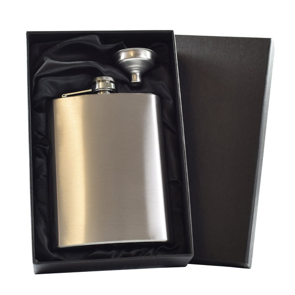 8oz Hip Flask and funnel in Gift Box