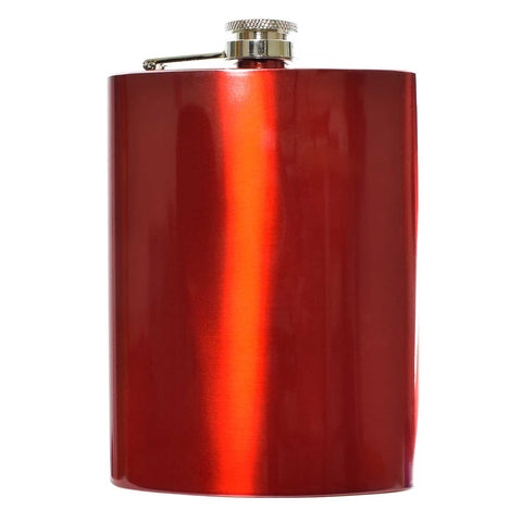 8oz Red Hip Flask