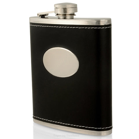 Black Oval Hip Flask Gift Set