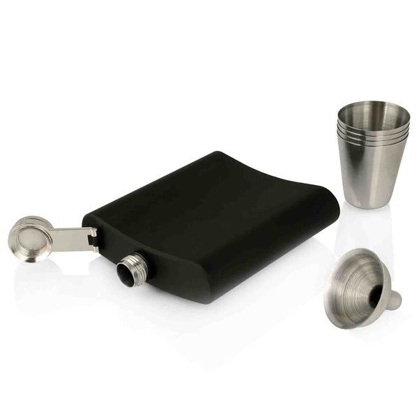 Black Hip Flask Gift Set