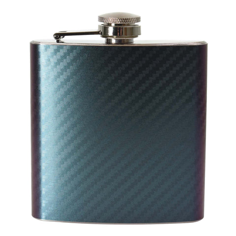 6oz Two Tone Purple/Green Carbon Hip Flask