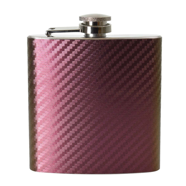 6oz Two Tone Red/Yellow Carbon Hip Flask