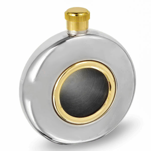 5oz Round Hip Flask - Clear Front - Gold Band
