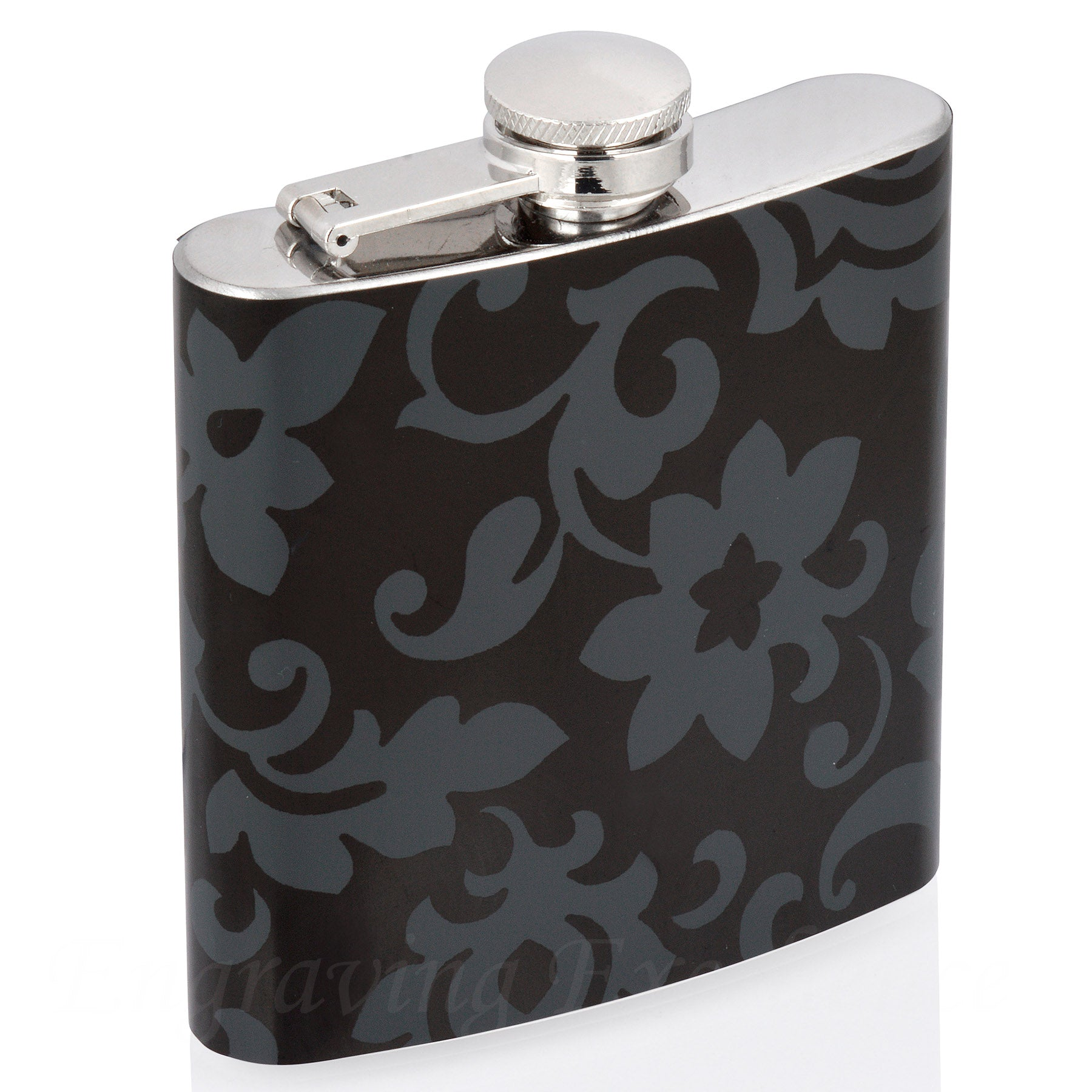 6oz Vinyl Covered Flask with Black Floral Pattern