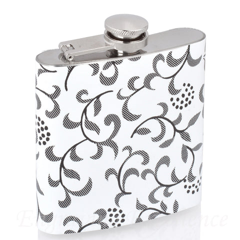 6oz Vinyl Covered Flask with White Floral Pattern
