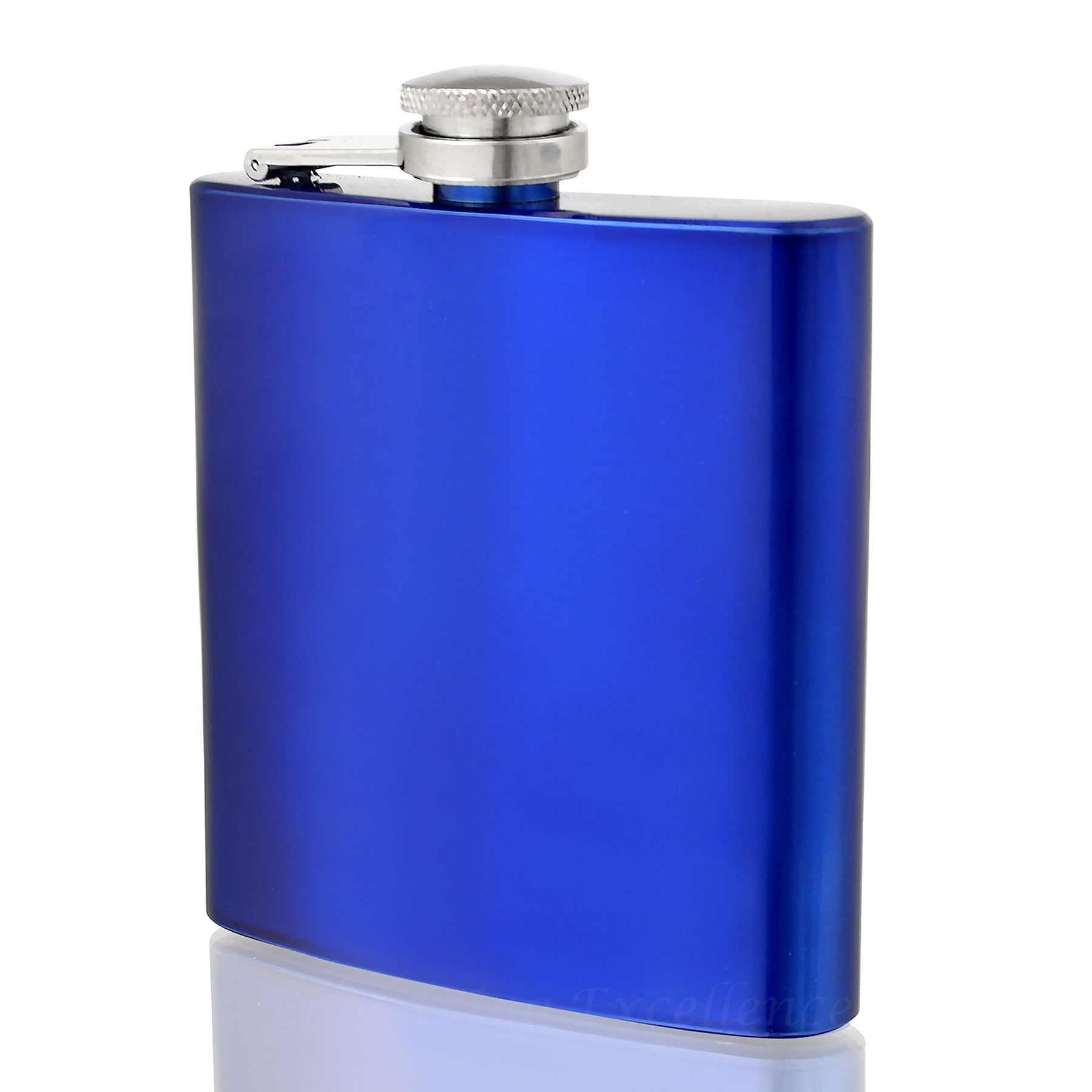 Engraved 6oz Blue Hip Flask