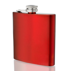 Engraved 6oz Red Hip Flask