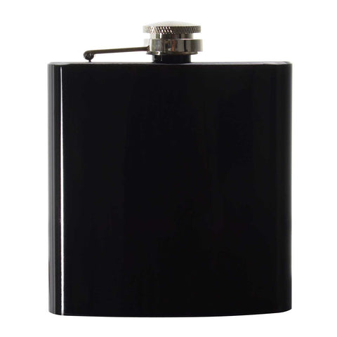 6oz Shiny Black Hip Flask