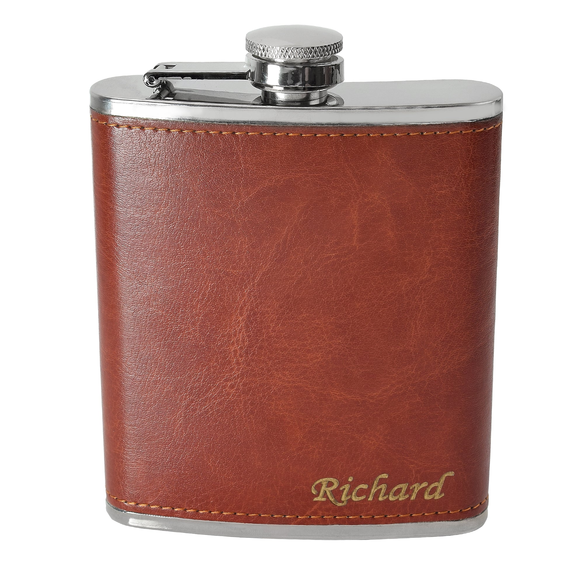 7oz Rustic Hip Flask Gift Set