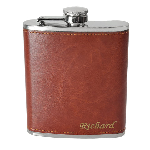 7oz Rustic Hip Flask with Engraving in the Right Corner