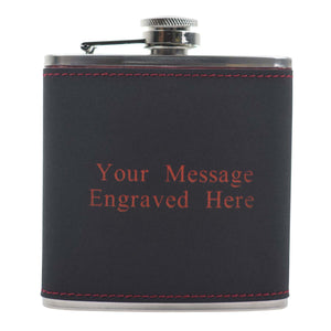 6oz Textured PU Leather Hip Flask Black/Red
