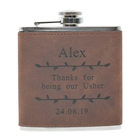 6oz Textured PU Leather Hip Flask Brown/Black