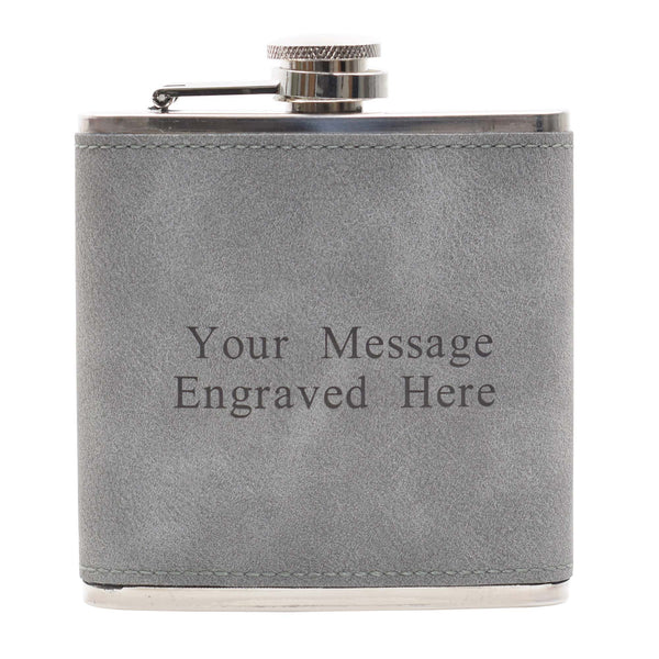 6oz Textured PU Leather Hip Flask Grey/Black