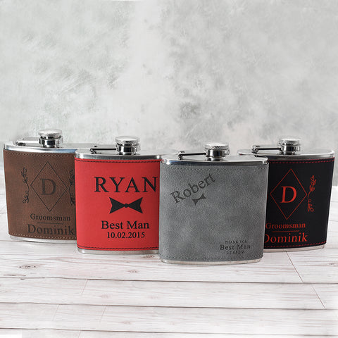 6oz Wedding Hip Flasks on Faux Contrasting Leather