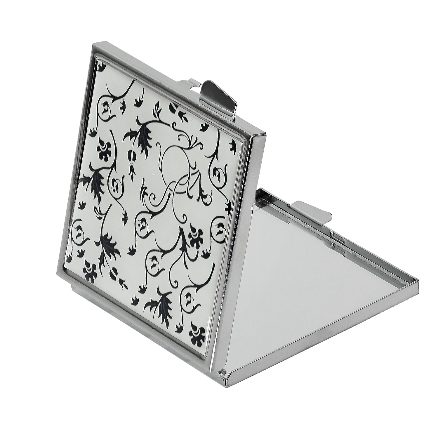 Black Floral Design Compact Mirror