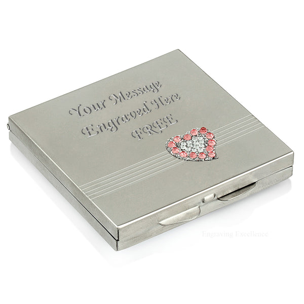Heart Design, Jewelled Square Compact Mirror