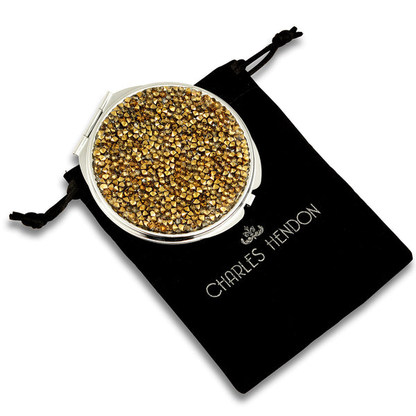 3D Crystal Compact Mirror -  Bronze