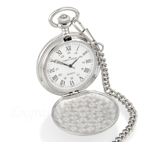 Silver Pocket Watch with Roman Numerals in a Wedding Printed Gift Box