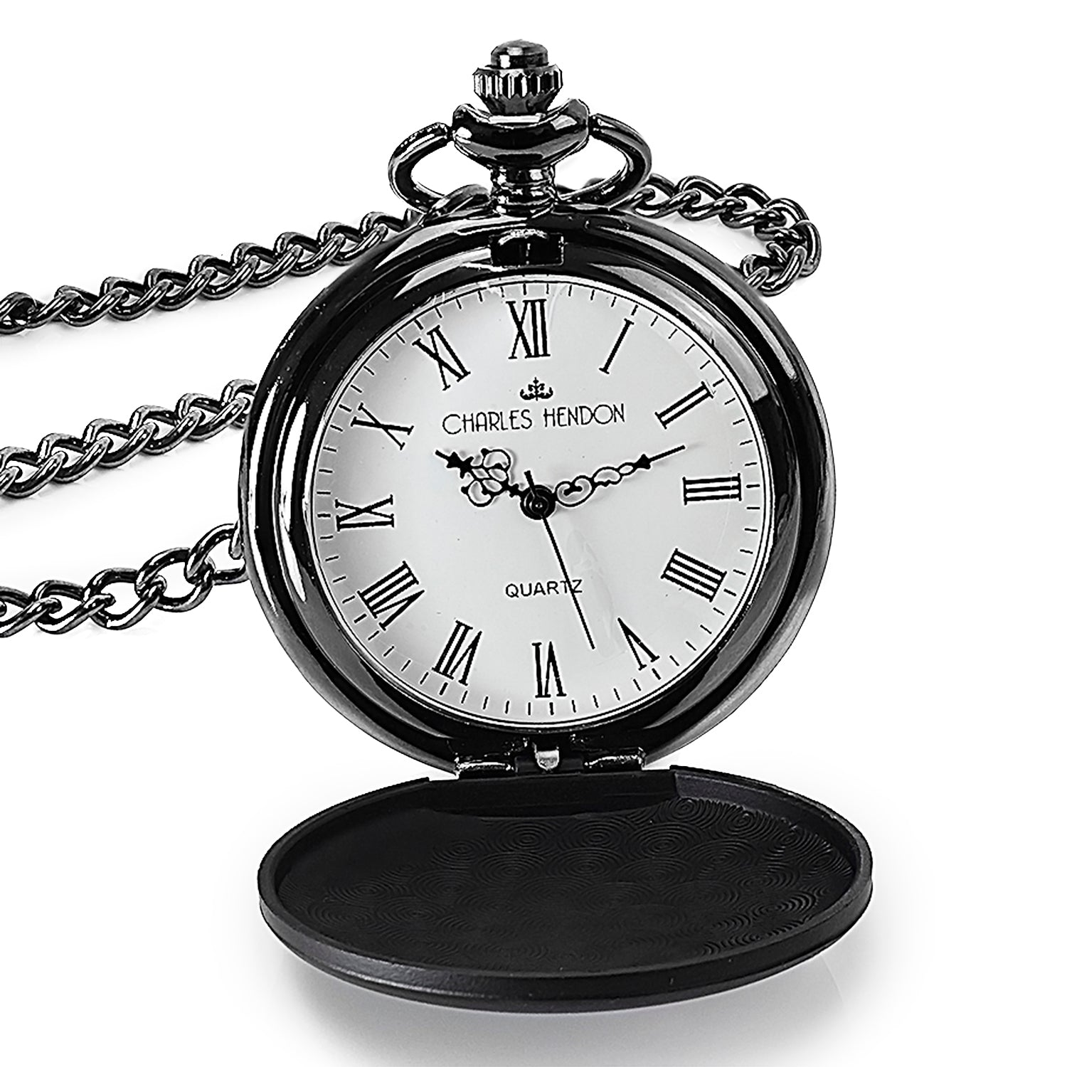 Black Pocket Watch with Roman Numerals