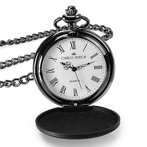 Black Pocket Watch with Roman Numerals in a Wedding Printed Gift Box