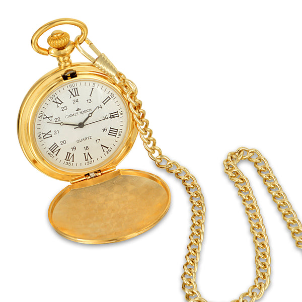 Gold Pocket Watch with Roman Numerals in a Wedding Printed Gift Box