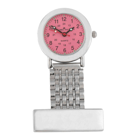 Silver Nurses Fob Watch with Pink Clock Face