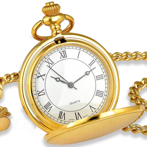 Gold Pocket Watch with Roman Numerals