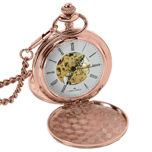 Rose Gold Mechanical Roman Pocket Watch