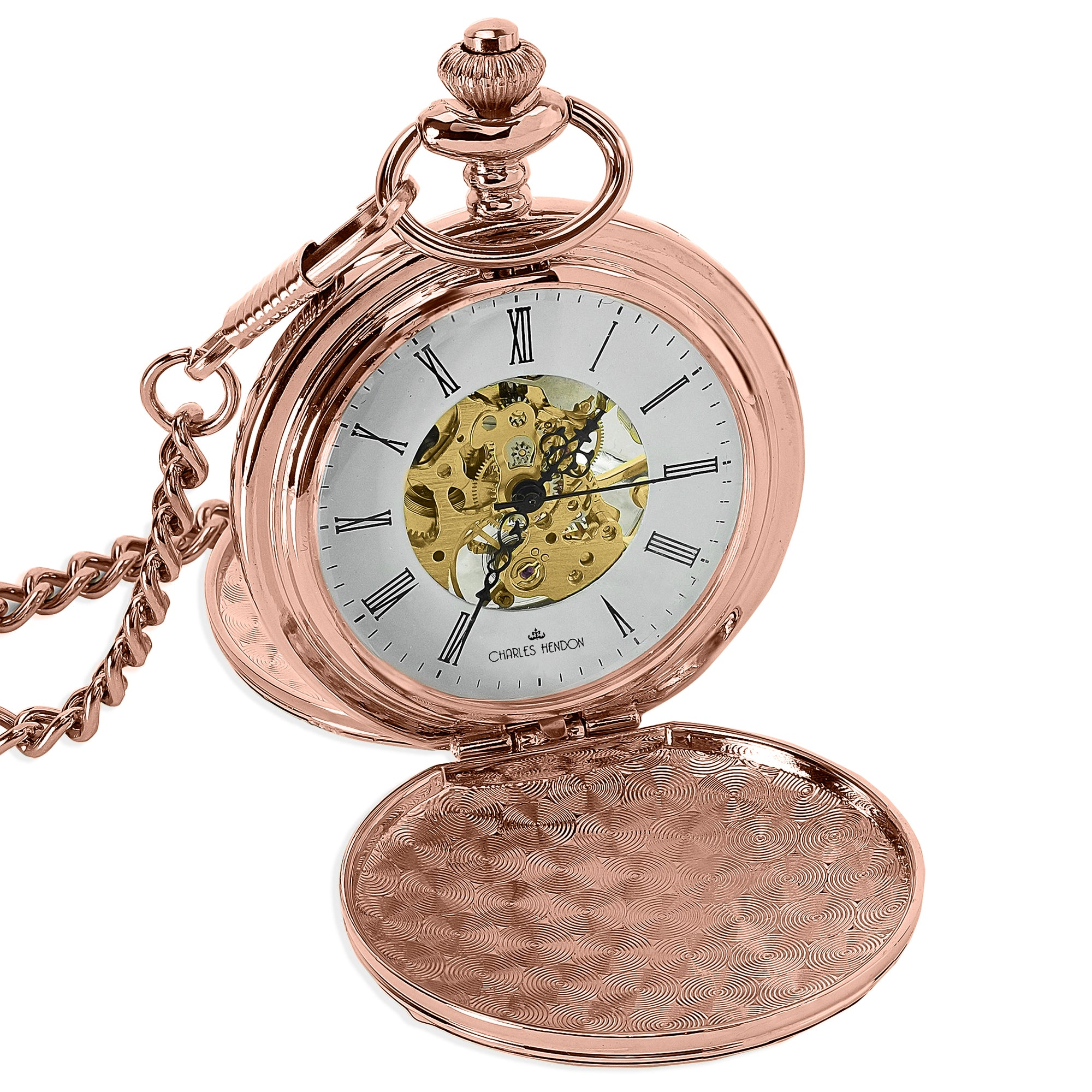 Rose-Gold Mechanical Pocket Watch 360 Product View