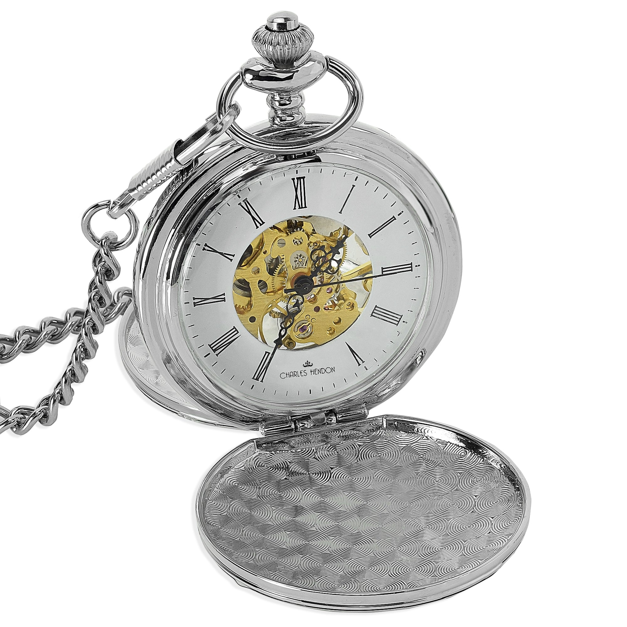 Silver Mechanical Pocket Watch 360 Product View