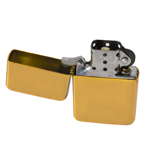 Steel Traditional Flip Lighter - Gold
