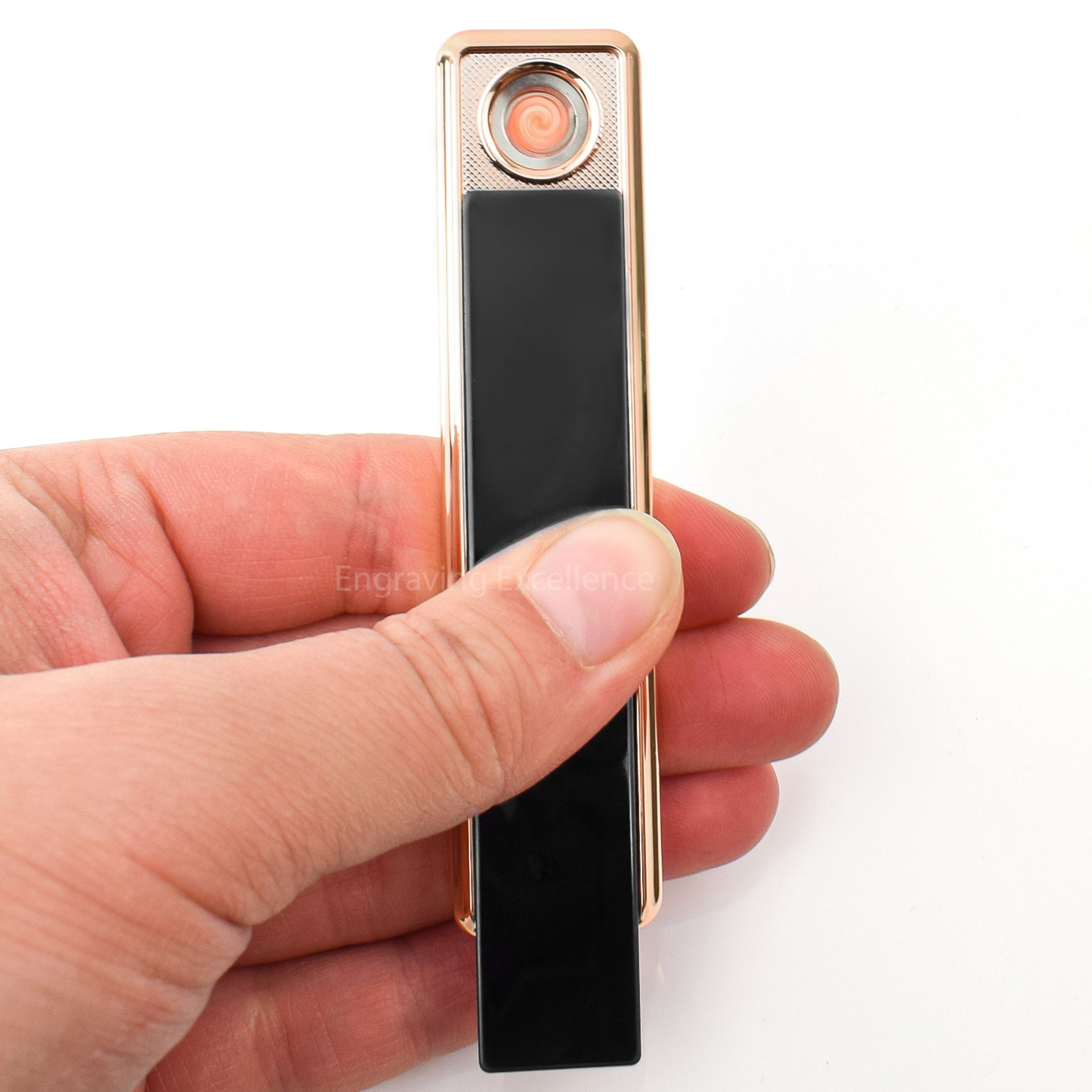 Slim Slide Action USB Lighter - Black