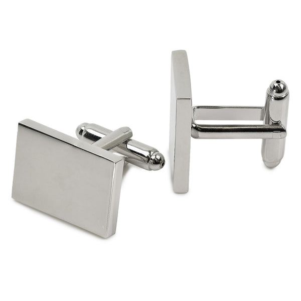 Rectangular Cufflinks - Rhodium Plated